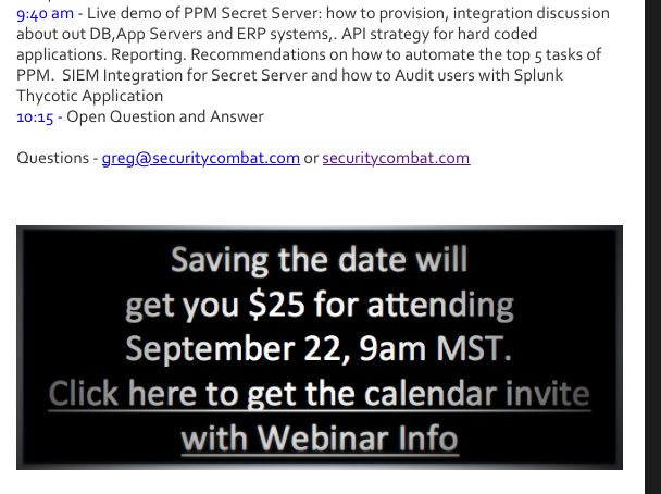embed your email template with graphic to be clicked for calendar invite