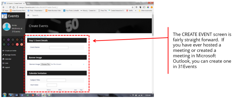 Events Add Edit Screen