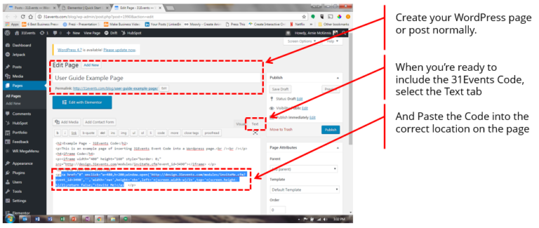 Event Code WordPress Text