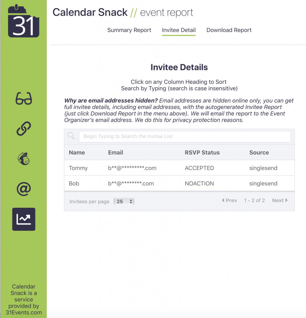 Calendar Snack RSVP tracking
