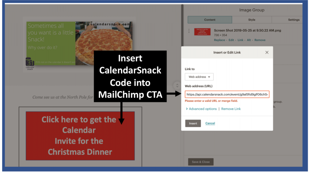 How to embed a Call to Action into a Mailchimp template for RSVP tracking using a CalendarSnack.